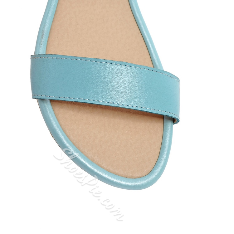 Solid Color Flat Heel Ankle Strap Sandals