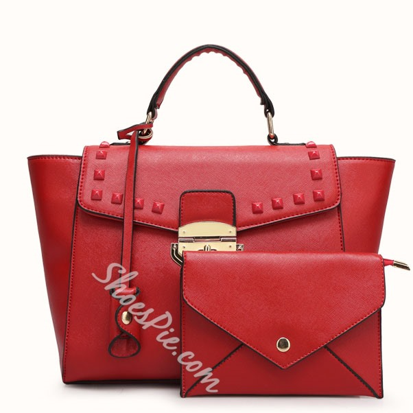 Shoespie Metal Color Rivet Decorated Handbag