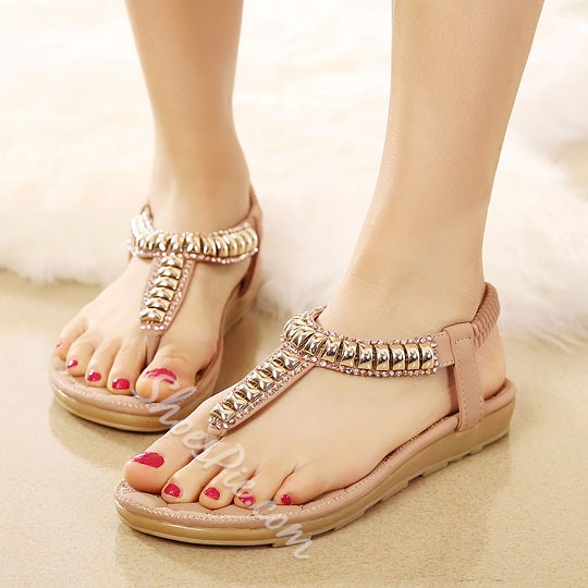 Shoespie Metal Thong Flat Sandals