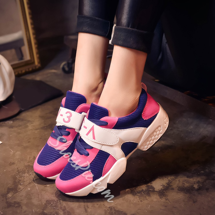 Color Block Patchwork Velcro Lace-Up Sneakers