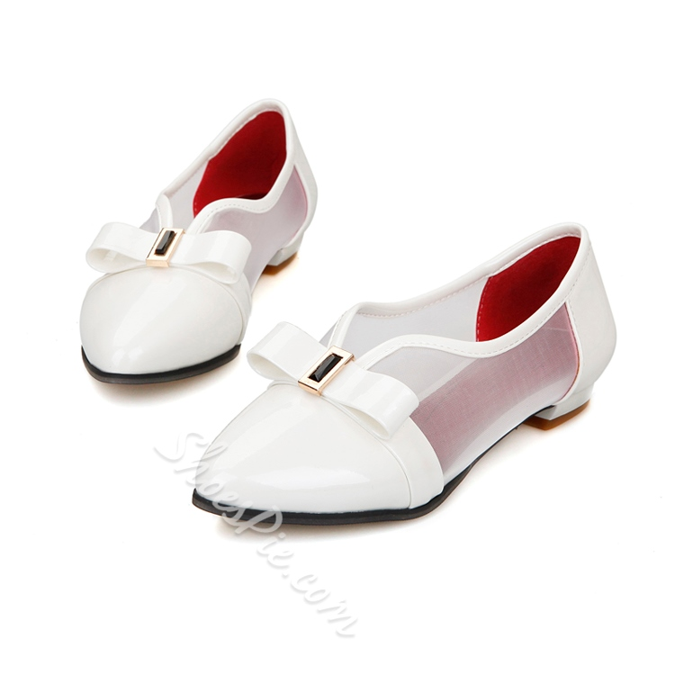 Bowknot Hollow Patchwork Pointed Toe Flats