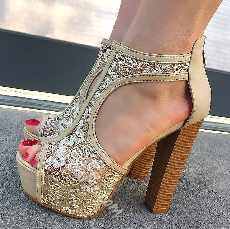 Sweet Lace Chunky Heel Platform Sandals