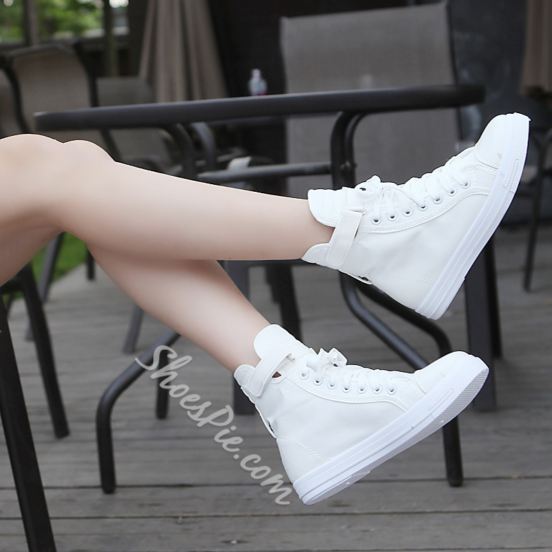 Solid Color High-Cut Upper Lace-Up Sneakers