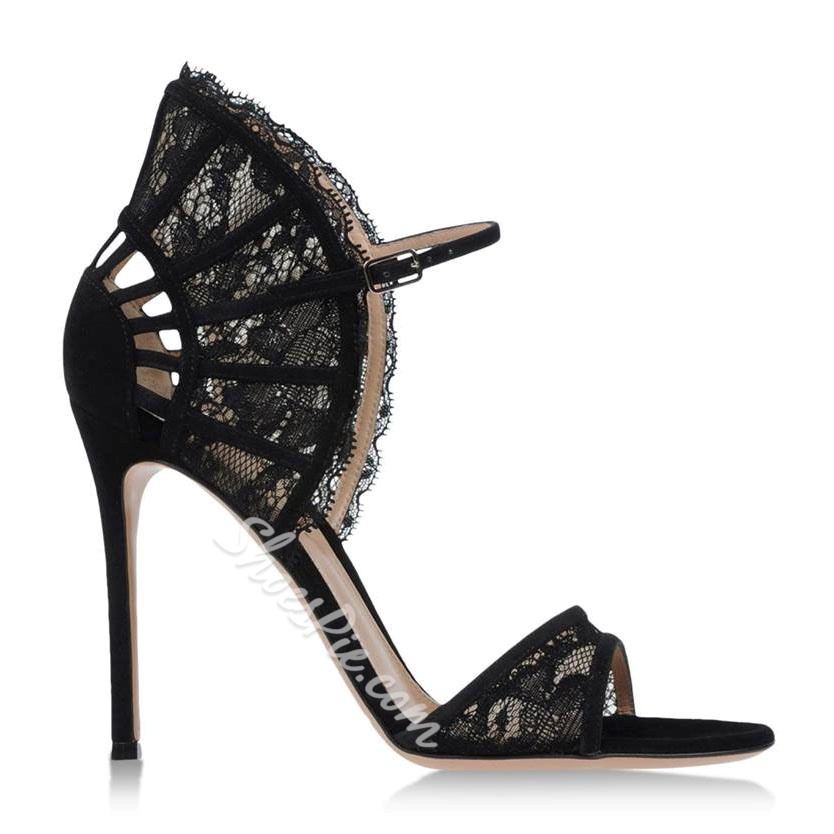 Shoespie Sexy Lace Black Stiletto Sandals