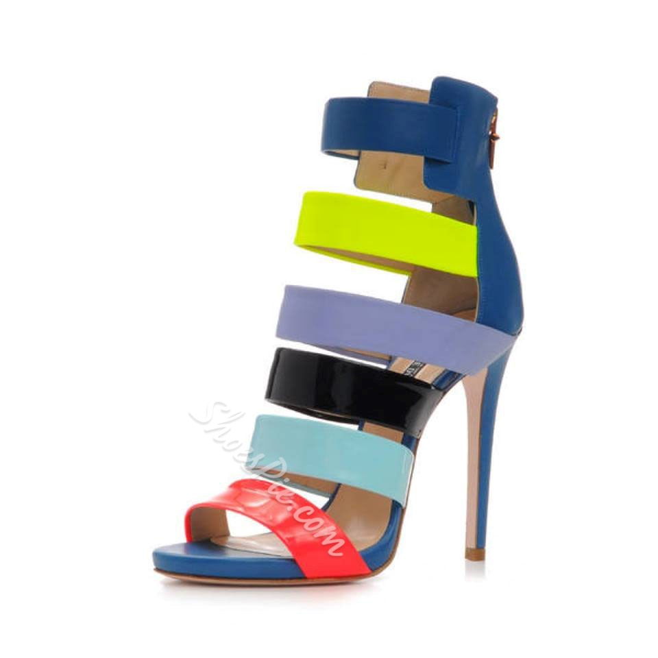 Shoespie Assorted Color Zipper Stiletto Sandals