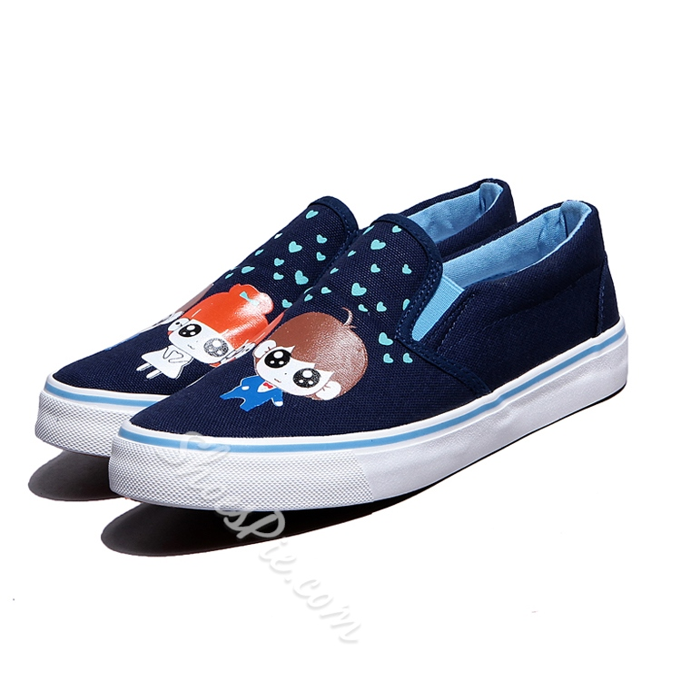 Print Round Toe Elastic Slip-On Sneakers