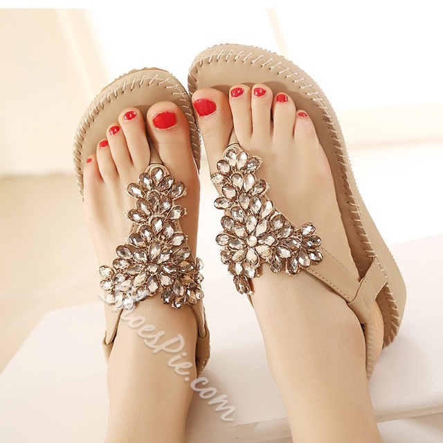 Preppy Style Luxurious Rhinestone Flat Sandals