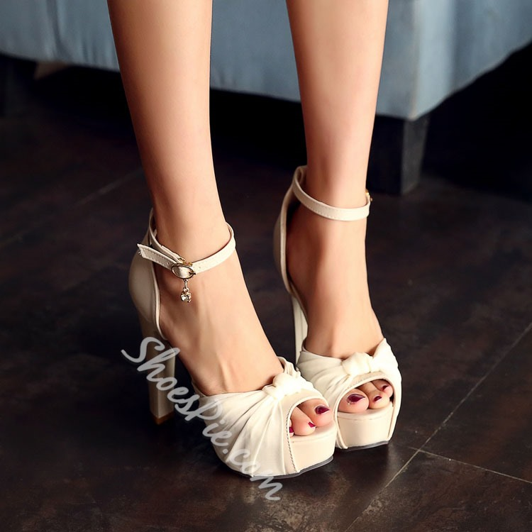 Bowknot Ankle Strap Platform Chunky Heel Sandals