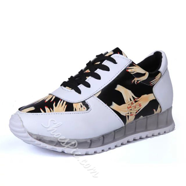 Print Patchwork Lace-Up Sneakers