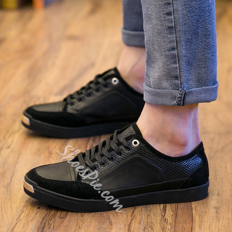 Shoespie PU Solid Lace-Up Men's Sneakers