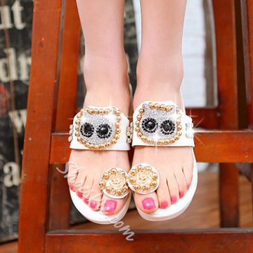 Pretty Rhinestone Beads Clip-toe Slippers