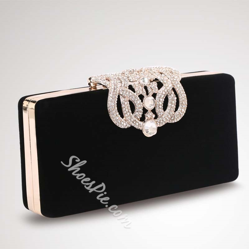 Shoespie Solid Color Rhinestone Decorated Evening Bag