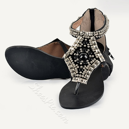 Shoespie Beading Crystal Flats Flip Flops Women Sandals