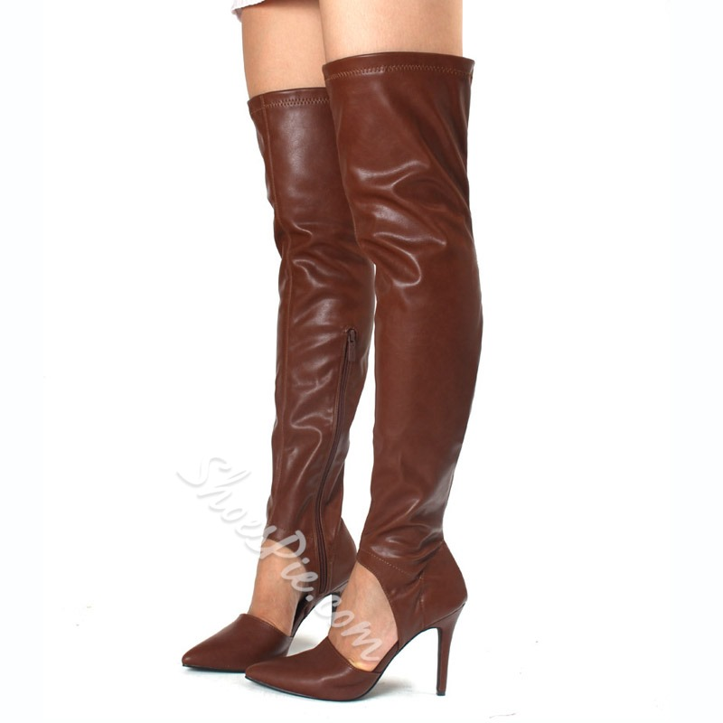 Pointed Toe Stiletto Heel Hollow Over Knee-High Boots