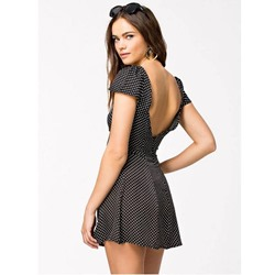 Backless Above Knee Short Sleeve A-Line Women's Dress