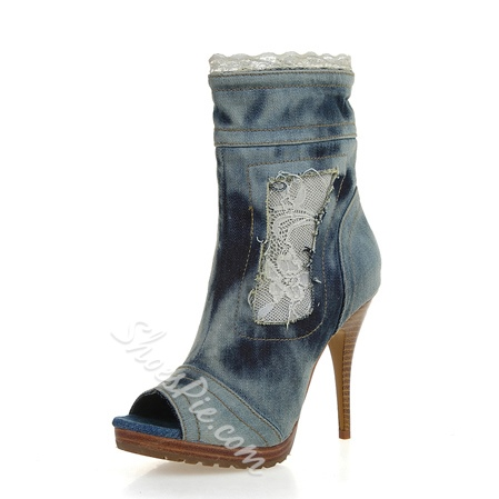 Fashionable Lace Decorated Denim Stiletto Heels