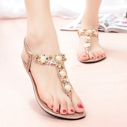 Shoespie Cute Beading Thong Flat Sandals