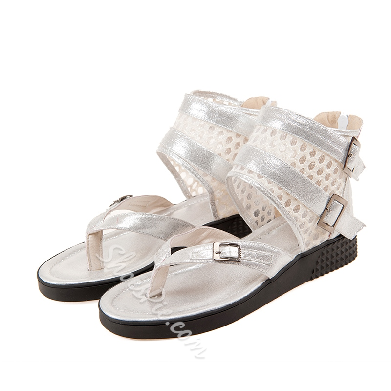 Shoespie Fashionable Metal and Mesh Decoration Buckle Flat Sandals