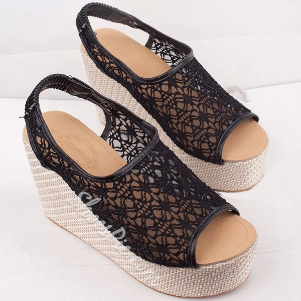 Shoespie Sweet Lace Decorated Wedge Sandals