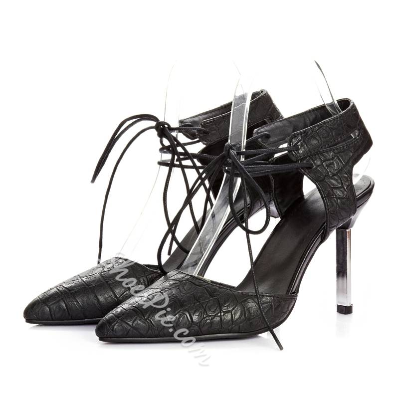 Shoespie Pointed-toe Lace-up Heels