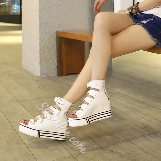Shoespie Canvas Solid Color Buckle Wedge Sandals