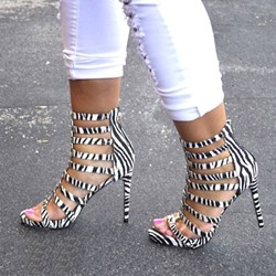 Shoespie Zebra Open-toed cut-outs Ankle Wrap Stiletto heel Sandals