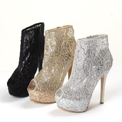 Shoespie Lace Sequined Back Zipper Stiletto Heels