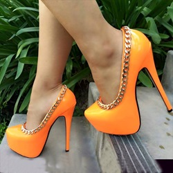 Shoespie Candy Color Chain Platform Heels