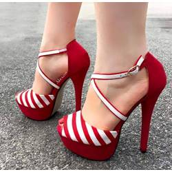 Shoespie Contrast Color Peep-Toe Stiletto/Platform Sandals