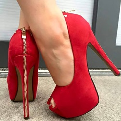 Shoespie Back Zipper Decoration Peep-Toe Heels