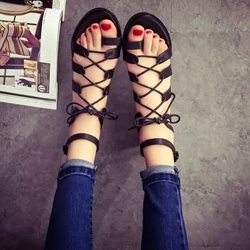 Shoespie Lace Up Flat Sandal