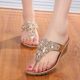 Shoespie Crystal Thong Wedge Slippers