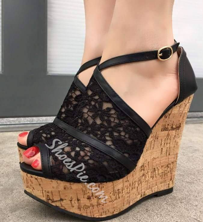 Shoespie Lace Decorated Wedge Sandals