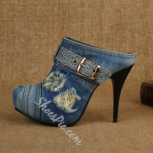 Shoespie Fashion Denim Stiletto Heel Slipper