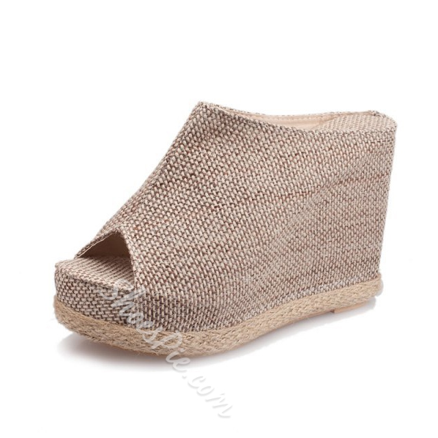 Shoespie Cheap Wedge Heel Peep Toe Slipper