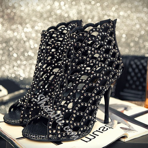 Shoespie Fashionable Glitter Cut-Outs Stiletto Heel Sandals