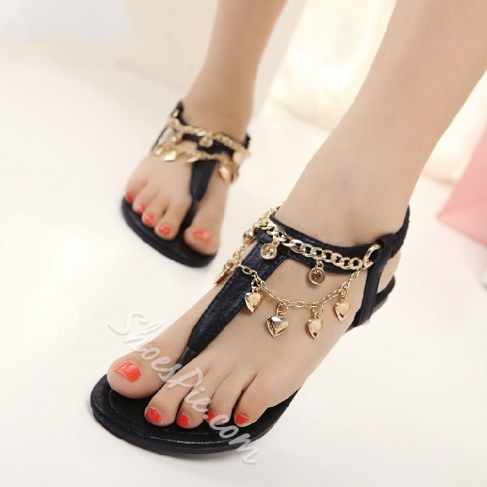 Shoespie Sweet Metal Chain Flat Sandals