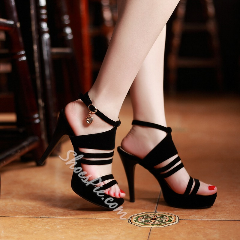 Shoespie Solid Color Cut-out Platform Sandals
