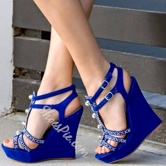 Shoespie Shiny Ankle Wrap Wedge Sandals with Rhinestone