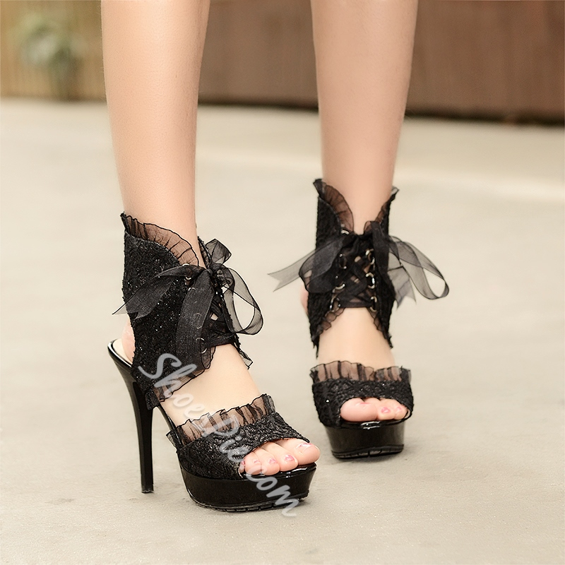 Shoespie Lace Up Lace Upper Stiletto Heel Platform Sandal