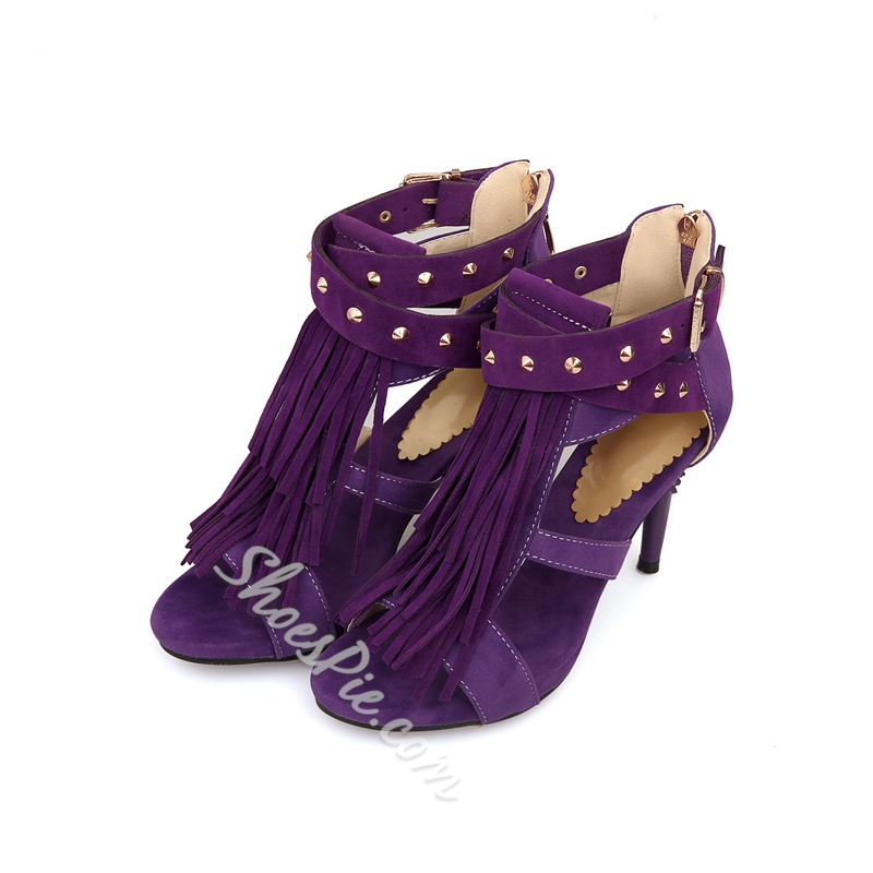 Shoespie Stilletto Heel Tassel Dress Sandals