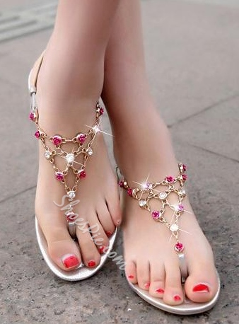 Shoespie Rhinestone Metal Chain Thong Flat Sandals