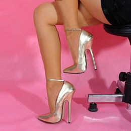 Shoespie Gold Ankle Wrap Stiletto Heels