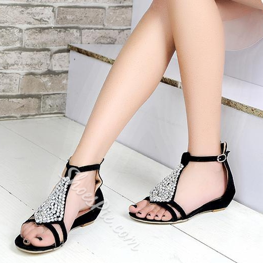 Shoespie Cheap Rinestone Flat Sandals