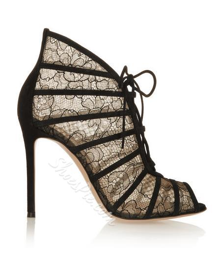 Shoespie Lace Decorated Peep-toe Dress Sandals