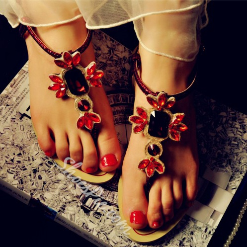 Shoespie Rhinestone Decorated Thong Flat Slippers