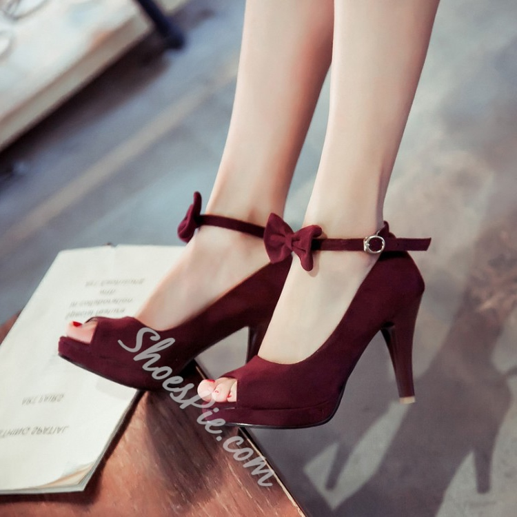 Shoespie Bowtie Peep Toe Stiletto Heels