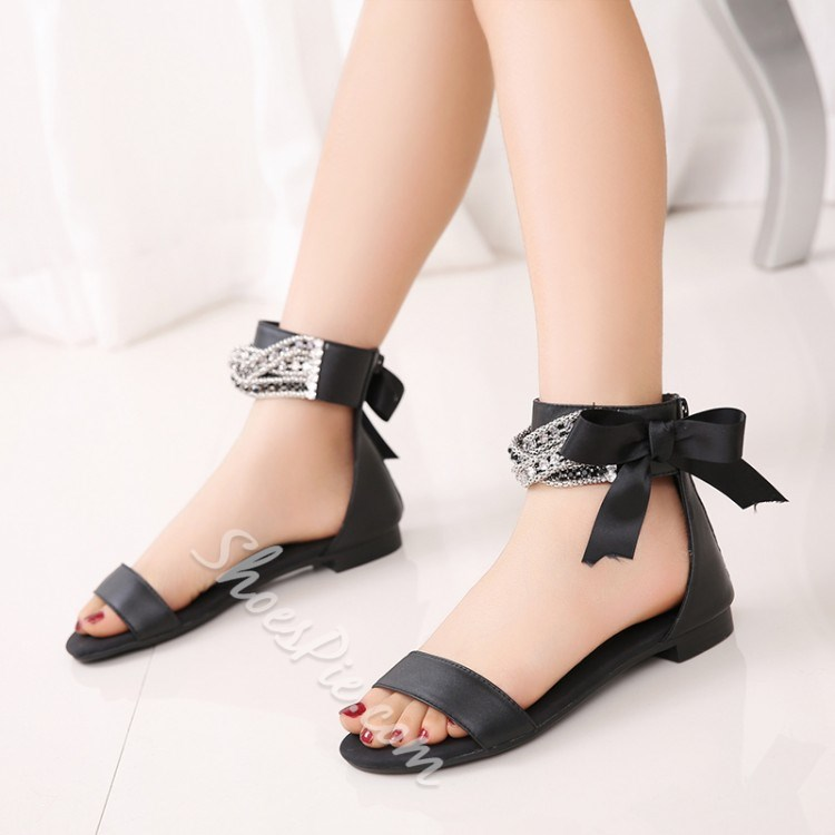 Shoespie Rhinestone Solid Color Flat Sandals