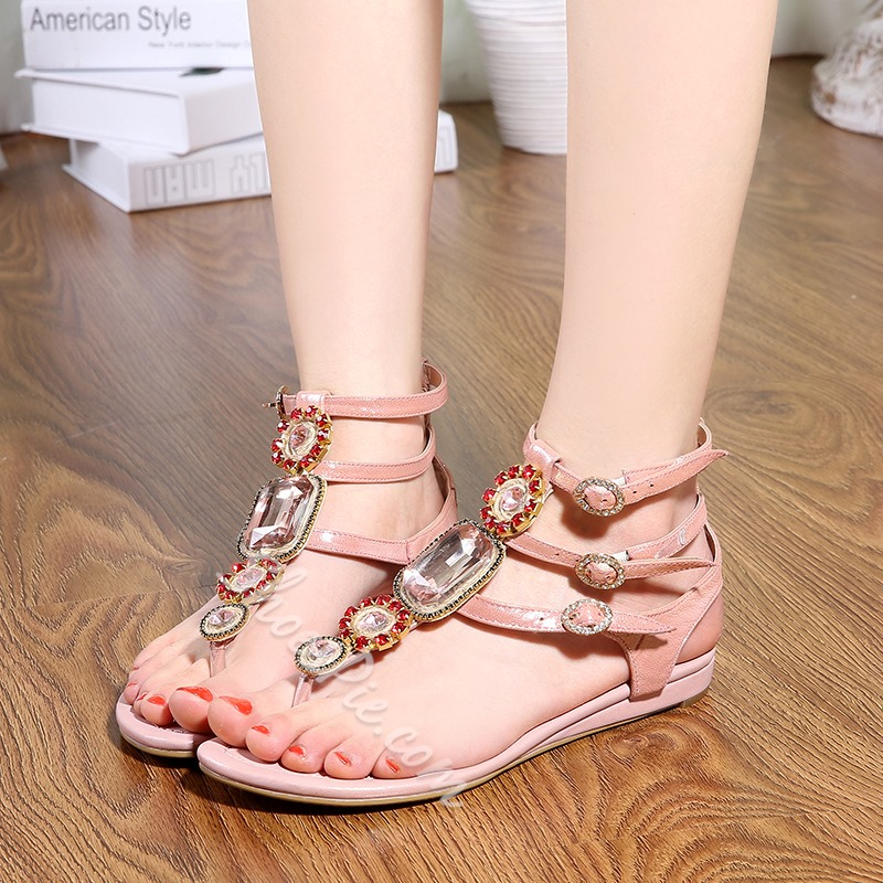 Shoespie Rhinestone Ankle Strap Thong Flat Sandals