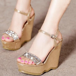 Shoespie Rhinestone Wedge Sandals